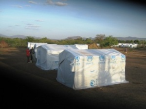 Temporary shelters for recently relocated Somali refugees