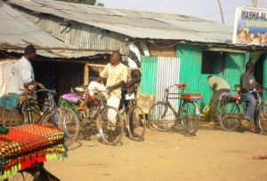 A boda-boda taxi station in the camp
