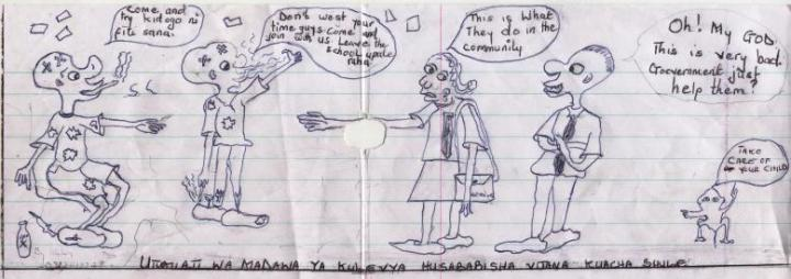Community cartoon by a secondary school student
