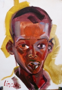 A portrait of a refugee boy